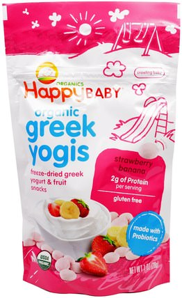 Organic Greek Yogis, Strawberry Banana, 1 oz (28 g) by Nurture (Happy Baby), 兒童健康,嬰兒餵養,嬰兒零食和手指食物 HK 香港