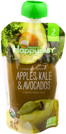 Organic Happy Baby Food, Stage 2, Clearly Crafted, 6+ Months, Apples, Kale & Avocados, 4 oz (113 g) by Nurture (Happy Baby), 兒童健康,嬰兒餵養,食物,兒童食品 HK 香港