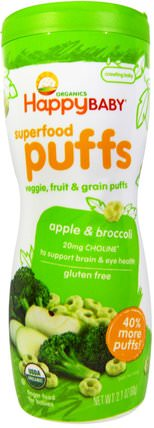 Organic Superfood Puffs, Apple & Broccoli, 2.1 oz (60 g) by Nurture (Happy Baby), 兒童健康,嬰兒餵養,嬰兒零食和手指食物 HK 香港