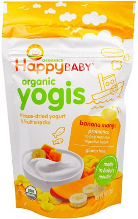 Organic Yogis, Freeze Dried Yogurt & Fruit Snacks, Banana Mango, 1 oz (28 g) by Nurture (Happy Baby), 兒童健康,嬰兒餵養,嬰兒零食和手指食物 HK 香港