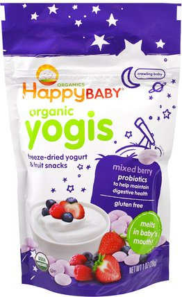 Organic Yogis, Freeze Dried Yogurt & Fruit Snacks, Mixed Berry, 1 oz (28 g) by Nurture (Happy Baby), 兒童健康,嬰兒餵養,嬰兒零食和手指食物 HK 香港