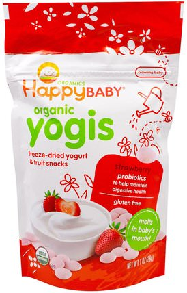 Organic Yogis, Freeze Dried Yogurt & Fruit Snacks, Strawberry, 1 oz (28 g) by Nurture (Happy Baby), 兒童健康,嬰兒餵養,嬰兒零食和手指食物 HK 香港