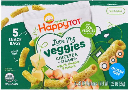 Organics Happy Tot, Love My Veggies, Chickpea Straws Snack Bags, Organic Cheddar & Spinach, 5 Bags, 0.25 oz (7 g) Each by Nurture (Happy Baby), 兒童健康,嬰兒餵養,嬰兒零食和手指食物 HK 香港