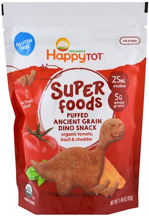 Organics Happy Tot, Superfoods, Puffed Ancient Grain Dino Snack, Organic Tomato, Basil & Cheddar, 1.48 oz (42 g) by Nurture (Happy Baby), 兒童健康,嬰兒餵養,嬰兒零食和手指食物 HK 香港