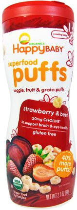 Organics Superfood Puffs, Strawberry & Beet, 2.1 oz (60 g) by Nurture (Happy Baby), 兒童健康,嬰兒餵養,嬰兒零食和手指食物 HK 香港