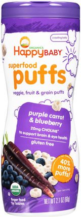 Organics, Superfood Puffs, Purple Carrot & Blueberry, 2.1 oz (60 g) by Nurture (Happy Baby), 兒童健康,嬰兒餵養,嬰兒零食和手指食品,兒童食品 HK 香港