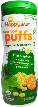 Organics, Superfood Puffs, Veggie, Fruit & Grain, Kale & Spinach, 2.1 oz (60 g) by Nurture (Happy Baby), 兒童健康,嬰兒餵養,嬰兒零食和手指食物 HK 香港