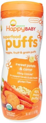 Organics, Superfood Puffs, Sweet Potato & Carrot, 2.1 oz (60 g) by Nurture (Happy Baby), 兒童健康,嬰兒餵養,嬰兒零食和手指食物 HK 香港
