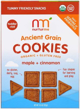 Organic Ancient Grain Cookies, Maple plus Cinnamon, 4.3 oz (122 g) by NurturMe, 兒童健康,嬰兒餵養,嬰兒零食和手指食品,幼兒小吃 HK 香港