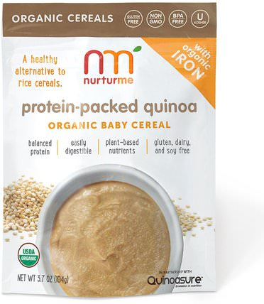Organic Baby Cereal, Protein-Packed Quinoa, 3.7 oz (104 g) by NurturMe, 兒童健康,兒童食品,嬰兒餵養,嬰兒穀物 HK 香港
