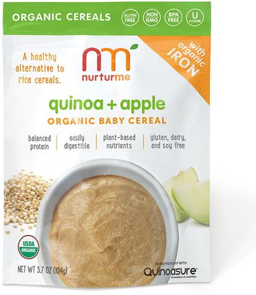 Organic Baby Cereal, Quinoa + Apple, 3.7 oz (104 g) by NurturMe, 兒童健康,兒童食品,嬰兒餵養,嬰兒穀物 HK 香港