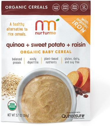 Organic Baby Cereal, Quinoa + Sweet Potato + Raisin, 3.7 oz (104 g) by NurturMe, 兒童健康,兒童食品,嬰兒餵養,嬰兒穀物 HK 香港
