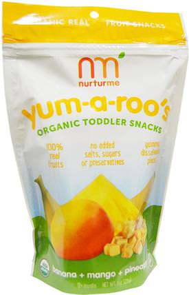Organic Toddler Snacks, Yum-A-Roos, Banana + Mango + Pineapple, 1 oz (28 g) by NurturMe, 兒童健康,嬰兒餵養,嬰兒零食和手指食品,泡芙,幼兒小吃 HK 香港