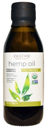 Organic Hemp Oil, Cold Pressed, 8 fl oz (236 ml) by Nutiva, 補充劑,efa omega 3 6 9(epa dha),大麻製品,大麻籽油,食品,食用油酒和醋 HK 香港