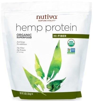 Organic Hemp Protein Hi-Fiber, 3 lbs (1.36 kg) by Nutiva, 補充劑,efa omega 3 6 9(epa dha),大麻製品,大麻蛋白粉 HK 香港