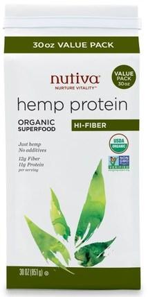 Organic Hemp Protein, Hi-Fiber, 30 oz (851 g) by Nutiva, 補充劑,efa omega 3 6 9(epa dha),大麻製品,大麻蛋白粉,nutiva大麻製品 HK 香港