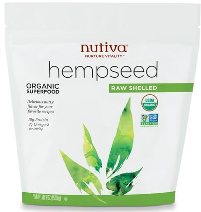 Organic Hemp Seed, Raw Shelled, 19 oz (539 g) by Nutiva, 補充劑,efa omega 3 6 9(epa dha),大麻製品,去殼大麻種子 HK 香港