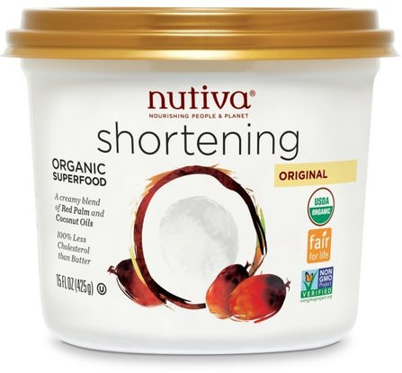 Organic Shortening, Original, Red Palm and Coconut Oils, 15 oz (425 g) by Nutiva, 食品,烘焙助劑,nutiva椰子糖果和零食 HK 香港