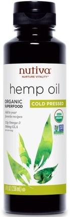 Organic Superfood, Hemp Oil, Cold Pressed, 8 fl oz (236 ml) by Nutiva, 補充劑,efa omega 3 6 9(epa dha),大麻製品,大麻籽油,nutiva大麻製品 HK 香港