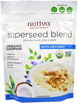 Organic Superseed Blend, With Coconut, 10 oz (283 g) by Nutiva, 補充劑,亞麻籽,efa omega 3 6 9(epa dha),正大種子 HK 香港