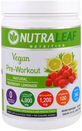 Pre-Workout Drink Mix Powder, Vegan, Natural Raspberry Lemonade, 10.15 oz (288 g) by NutraLeaf Nutrition, 運動,補品,bcaa(支鏈氨基酸) HK 香港