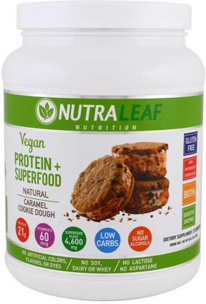 Protein + Superfood Drink Mix, Vegan, Natural Caramel Cookie Dough, 16 oz (454 g) by NutraLeaf Nutrition, 補品,超級食品,運動 HK 香港