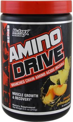 Nutrex Research Labs, Black Series, Amino Drive, Peach Pineapple, 8.6 oz (243 g) orgain蛋白粉,補充劑,蛋白質