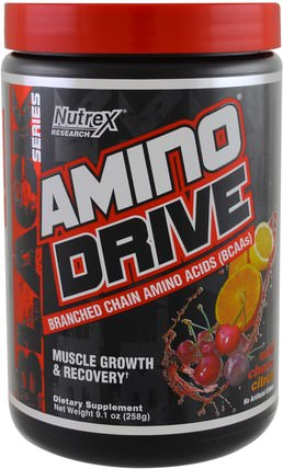 Black Series, Amino Drive, Wild Cherry Citrus, 9.1 oz (258 g) by Nutrex Research Labs, 補充劑,氨基酸,bcaa(支鏈氨基酸),運動,鍛煉 HK 香港