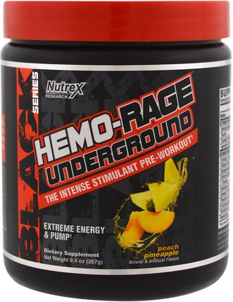 Black Series, Hemo-Rage Underground, Peach Pineapple, 9.4 oz (267 g) by Nutrex Research Labs, 運動,鍛煉 HK 香港