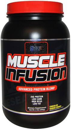 Nutrex Research Labs, Muscle Infusion, Advanced Protein Blend, Chocolate Banana Crunch, 2 lbs (908 g) 補充劑,蛋白質,運動,肌肉