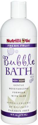 Bubble Bath, Non-Soap, Fresh Fruit, 16 fl oz (473 ml) by NutriBiotic, 洗澡,美容,泡泡浴,孩子泡泡浴 HK 香港