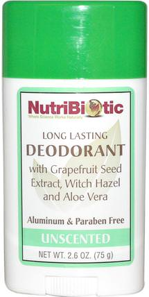Long Lasting Deodorant Stick, Unscented, 2.6 oz (75 g) by NutriBiotic, 洗澡,美容,除臭劑 HK 香港