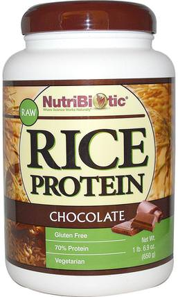 Raw Rice Protein, Chocolate, 1 lb 6.9 oz (650 g) by NutriBiotic, 補充劑,蛋白質,大米蛋白粉 HK 香港