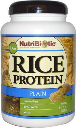 Raw Rice Protein, Plain, 1 lb. 5 oz (600 g) by NutriBiotic, 補充劑,蛋白質,大米蛋白粉 HK 香港