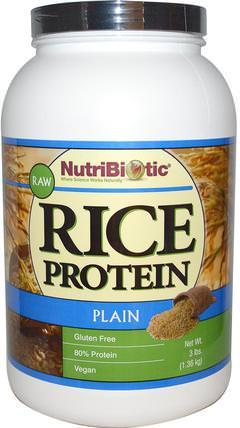 Raw, Rice Protein, Plain, 3 lbs (1.36 kg) by NutriBiotic, 補充劑,蛋白質,大米蛋白粉 HK 香港