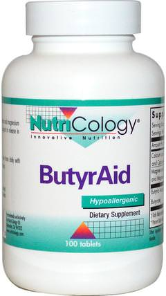 ButyrAid, 100 Tablets by Nutricology, 補充劑,礦物質,鈣和鎂 HK 香港