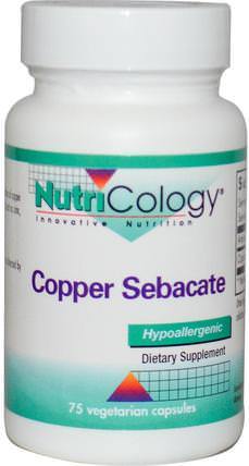 Copper Sebacate, 75 Veggie Caps by Nutricology, 補品,礦物質,銅 HK 香港