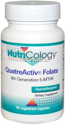 QuatreActiv Folate, 90 Veggie Caps by Nutricology, 維生素,葉酸,5-mthf葉酸(5甲基四氫葉酸) HK 香港