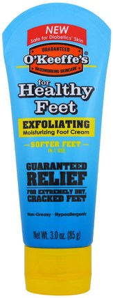 Exfoliating Moisturizing Foot Cream, For Extremely Dry, Cracked Feet, 3 oz (85 g) by OKeeffes, 洗澡,美容,霜腳,皮膚 HK 香港
