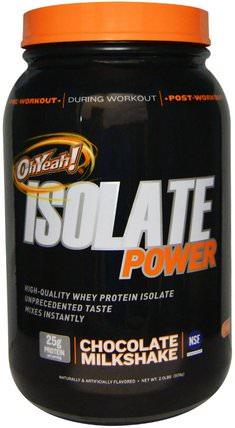 Isolate Power, Chocolate Milkshake, 2 lbs (908 g) by Oh Yeah!, 補充劑,乳清蛋白 HK 香港