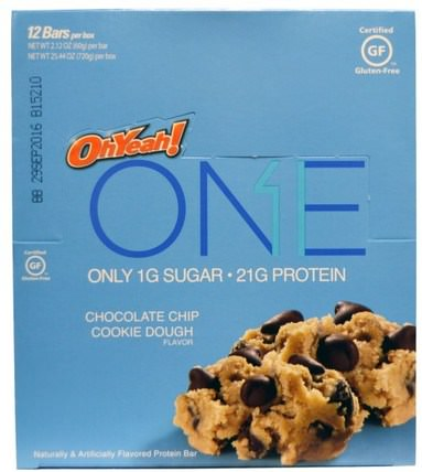 One Bar, Chocolate Chip Cookie Dough Flavor, 12 Bars, 2.12 oz (60 g) Each by Oh Yeah!, 運動,蛋白質棒 HK 香港