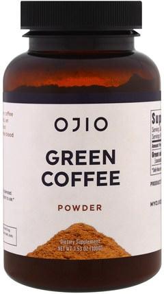 Ojio, Green Coffee Powder, 3.53 oz (100 g) 補充劑,抗氧化劑,綠咖啡豆提取物