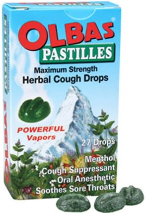 Pastilles, Herbal Cough Drops, Maximum Strength, Menthol, 27 Drops by Olbas Therapeutic, 健康,肺和支氣管,咳嗽滴 HK 香港