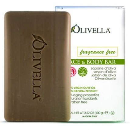 Face & Body Bar, Fragrance Free, 3.52 oz (100 g) by Olivella, 洗澡,美容,肥皂 HK 香港