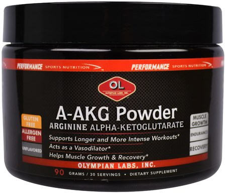 Arginine Alpha-Ketoglutarate, Pre-Workout, Unflavored, 90 g by Olympian Labs A-AKG Powder, 補充劑,氨基酸,l精氨酸,aakg(精氨酸α酮戊二酸),運動,一氧化氮 HK 香港