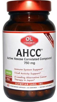 Olympian Labs AHCC, 750 mg, 60 Veggie Caps 補充劑,藥用蘑菇,ahcc,健康,感冒和病毒,免疫系統