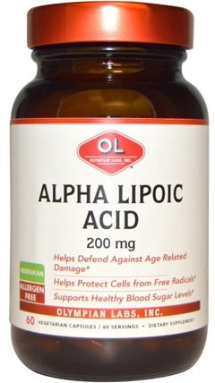 200 mg, 60 Veggie Caps by Olympian Labs Alpha Lipoic Acid, 補充劑,抗氧化劑,α硫辛酸,α硫辛酸200毫克 HK 香港