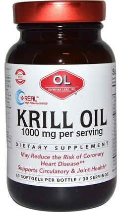 1000 mg, 60 Softgels by Olympian Labs Krill Oil, 補充劑,efa omega 3 6 9(epa dha),磷蝦油 HK 香港