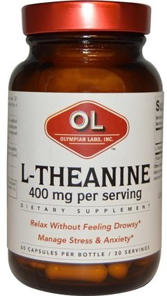 400 mg, 60 Capsules by Olympian Labs L-Theanine, 補充劑,氨基酸,茶氨酸 HK 香港