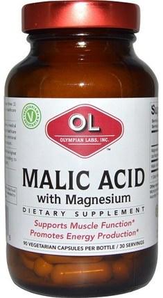 Olympian Labs Malic Acid, with Magnesium, 90 Veggie Caps 補品,礦物質,鎂